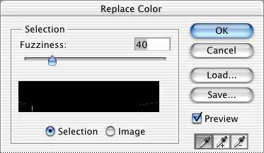 3. You can see the selection area displayed in black and 3 eyedropper tools in the Replace Colour dialog box.