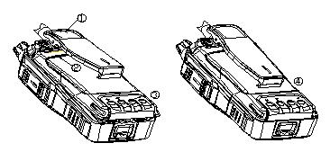 If the radio have a belt clip, press down the belt clip first as figure 1 shows; match the two bumps of the battery to the two slots of the radio and put inside as figure 2 shows.