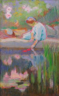 Ellen Day Hale Paintings (7) 36 Before the Bath. Oil on canvas, 23.5 H X 17.5 W;