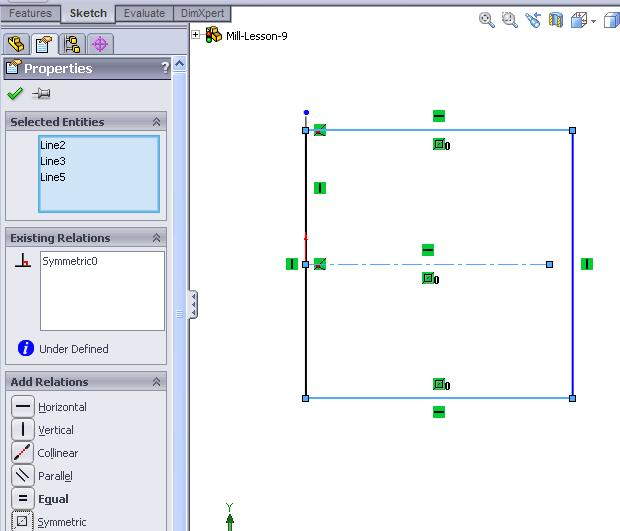 Mastercam for SolidWorks Training Guide Create Rectangle starting on the vertical centerline 3. Click on the corner rectangle icon in sketch toolbar.