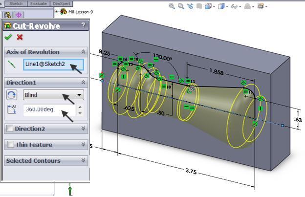 Mastercam for SolidWorks Training Guide 13. Revolve 360 degrees around the horizontal centerline.