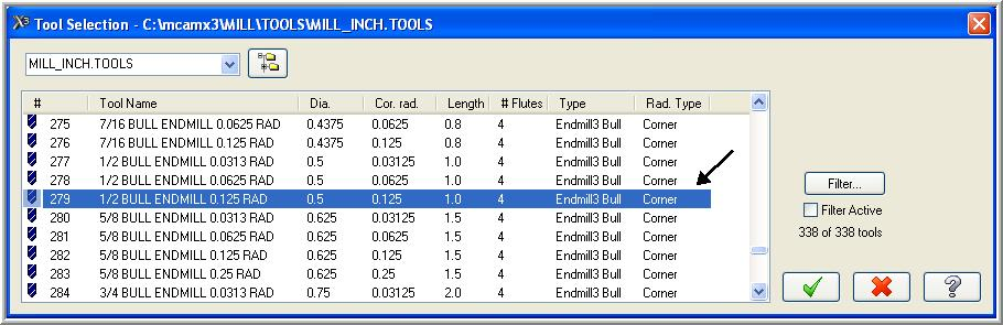 15. Use the slider bar on the right of this dialog box to scroll down and locate a 0.5 diameter bull endmill with a 0.