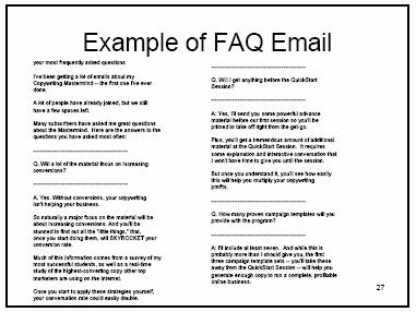 Now let's go to the third template, the FAQ email. Of course, you know, FAQ means frequently asked questions. These can close the deal, they really can.