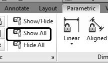 Autodesk AutoCAD 2018: Fundamentals 2. Activate the Parametric ribbon. 3. Select Show All to display all the geometric constraints currently applied. 4.