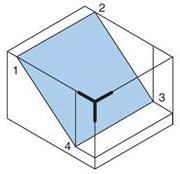 Create the right side isometric plane using D and H dimensions.