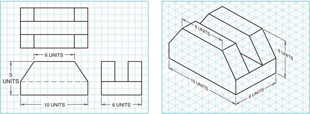 11/12/2015 Example 3 Example 3 (Answer) The following figure shows the top, front and right-side views of a part in Third Angle Projection. Draw an isometric view of the part in full scale.