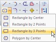 On the command menu, at the top of the Solid Edge application, choose Home tab>draw group>rectangle by 3