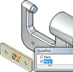 Introduction to creating assemblies Use QuickPick to select the planar face on the name plate Position the cursor over the face shown highlighted in the top illustration, stop moving the mouse for a