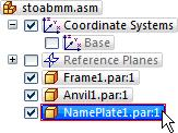 Introduction to creating assemblies Use PathFinder to review the assembly relationships In the top pane of PathFinder, click the NamePlate.par:1 entry, as shown above.