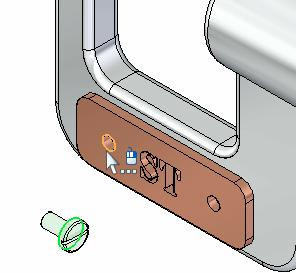 Select the cylindrical edge on the name plate Because you selected a cylindrical edge in the