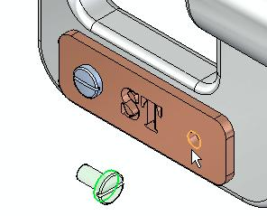 Introduction to creating assemblies Select the cylindrical edge on the name plate Select the cylindrical edge on the name plate, as shown in the illustration.