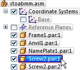 Lesson 2 Introduction to creating assemblies Use PathFinder to review the assembly relationships In the top pane of PathFinder, click the Screw2.par:1 entry, as shown above.