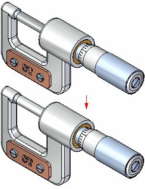 Introduction to creating assemblies Step 4 completed You have finished placing the spindle subassembly in the caliper assembly.