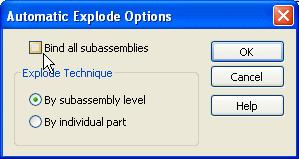 Introduction to creating assemblies Ensure the By Subassembly Level option is set as well, then click OK. Create the automatic explosion On the command bar, click the Explode button.