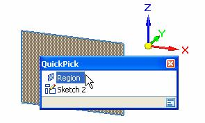 Lesson 1 Introduction to part modeling Position the cursor over the sketch region as shown, stop moving the mouse for a moment, and notice that the cursor image changes to indicate that multiple