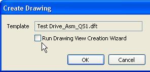 On the Create Drawing dialog box, clear the Run Drawing View Creation Wizard option, as shown below, then click OK.