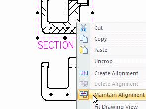 Lesson 3 Introduction to detailed drawing production Move the section view When you create a section view, by default it is aligned with its source view.