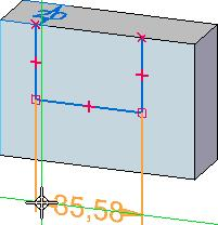 Notice that dimension elements are attached to the cursor. Position the cursor below the model, and click to place the dimension, as shown below.