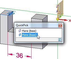 Introduction to part modeling Position the cursor over the entry in QuickPick that highlights the YZ principal plane as shown below, then click to select it.