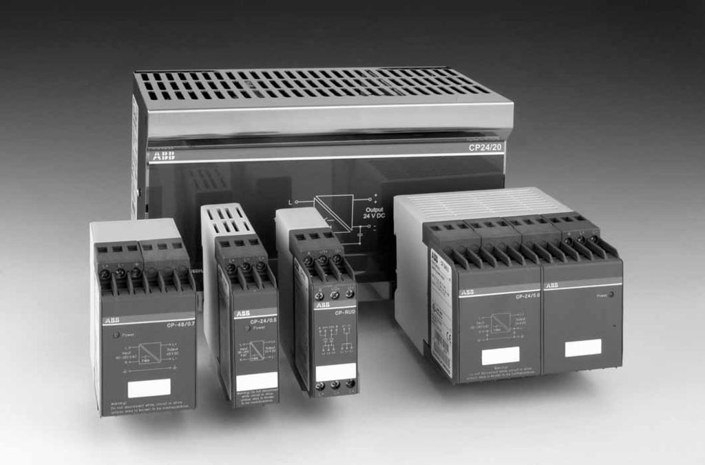 CP range Benefits and advantages 1SVC 110 000 F 0315 2CDC 273 001 F 0003 Switching power supplies, primary switch mode High efficiency Wide-range supply voltage input Mounting on DIN rail Small