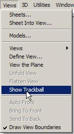Graphite 5. Rotate the Wedge Die with the Trackball to make sure it is truly a 3D object. Choose Views>Show Trackball.