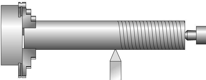 Cutting an external thread on a lathe The rotation of the lathe chuck is matched with the feed of the lathe