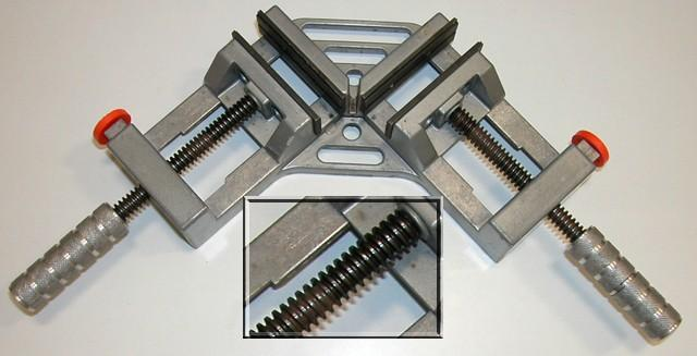 Example of a screw used as part of clamping device A mitre clamp is shown above. A mitre clamp is used to clamp timber and other resistant materials at right angles.