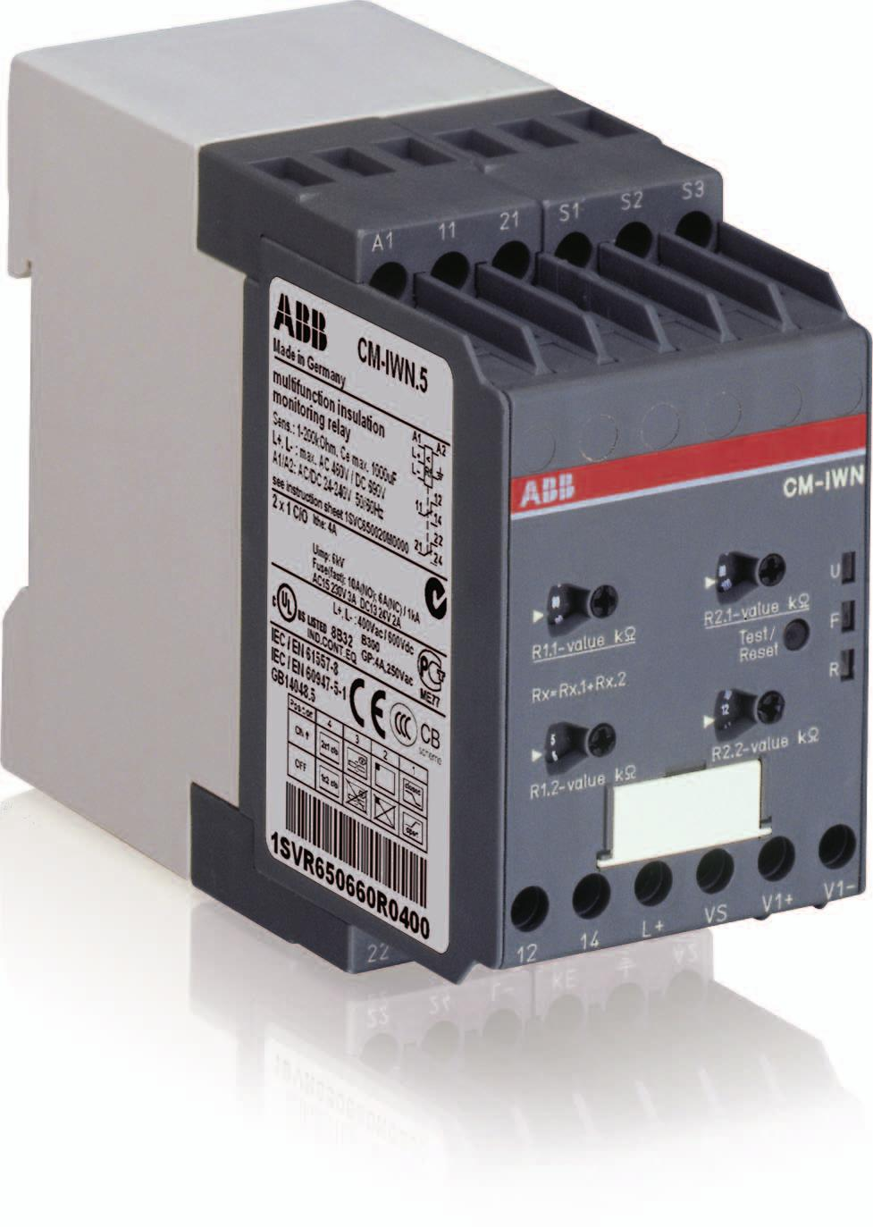 Data sheet Insulation monitoring relay CM-IWN.5 For unearthed AC, DC and mixed AC/DC systems up to U n = 400 V AC and 600 V DC The CM-IWN.