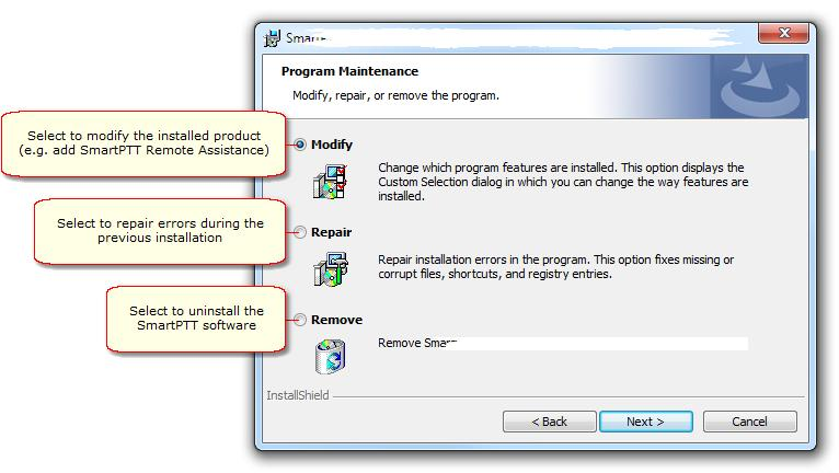 Installation of the SmartPTT software 5 c. Select the proper variant in the Program Maintenance window: d.