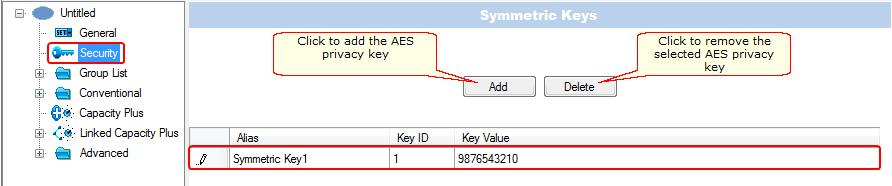 73 4. In the Security window of MOTOTRBO Network Interface Service Configuration Utility in the Symmetric Keys field add the AES symmetric privacy key.