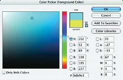 Select a yellow foreground color and fill the active selection with it. Deselect and target the black layer again.