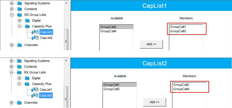 Capacity Plus 37 3. In the RX Group Lists tab switch to an Available list.