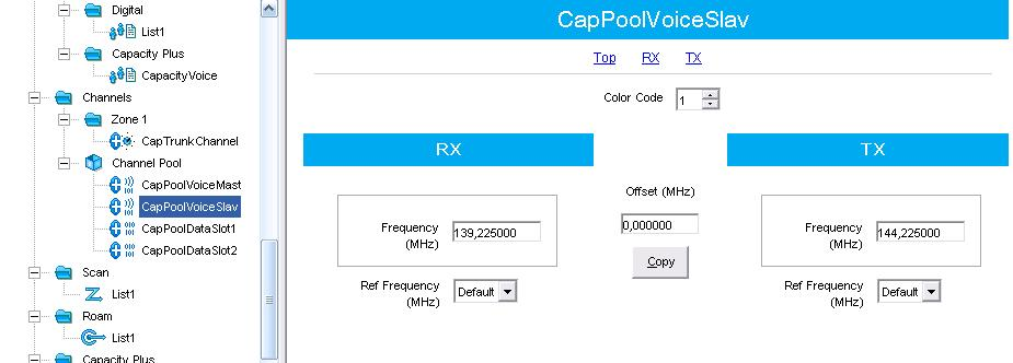 Capacity Plus 44 2. Create a channel pool for Slave (Trunk) repeater. 3.