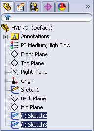 Key-in HYDRO for the filename and press ENTER. B. Delete Loft1, Sketch2 and Sketch3.