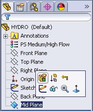 Click Mid Plane in the Feature Manager and click Edit Feature toolbar, Fig. 3. Step 2.
