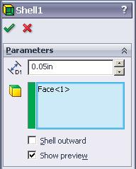 P. Shell. Step 1. Click Isometric on the Standard Views toolbar. (Ctrl-7). Step 2. Click the top face of hull, Fig. 67. Step 3. Click Shell Top face Step 4.