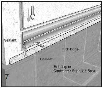 Application at Tile Curb, Floor, Base Molding and Ceiling Line Curb must be installed first.