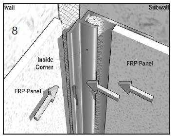 Slip FRP Panel into Edge Trim Molding. Allow for 1/8 expansion space and sealant squeeze-out. Execute similar application at ceiling line.