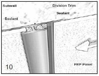 Application at Panel Divisions Apply a continuous bead of silicone sealant to both Division Trim Molding channels. Slip under preceding FRP Panel and secure to sub wall.