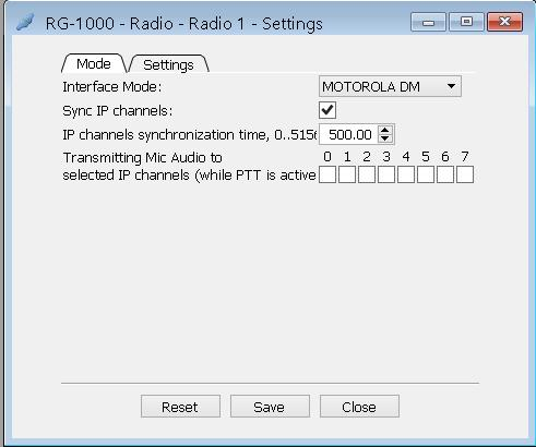 12 To open the Settings window, double-click Settings on the RG-1000 panel in the Radio section.