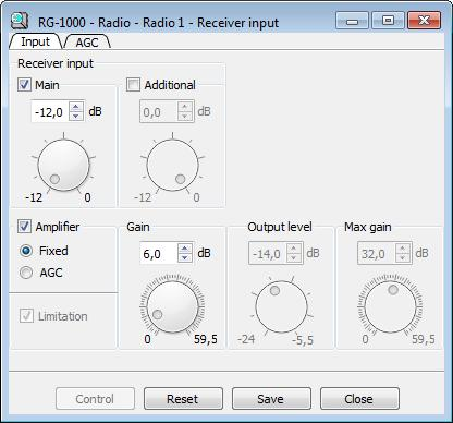 14 Receiver input The Receiver input window defines settings of the RG-1000 GATEWAY analog inputs.