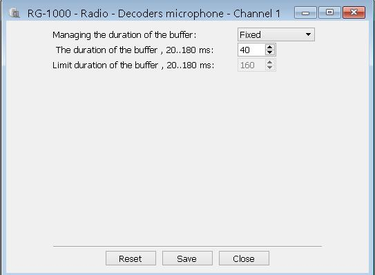 18 Decoders microphone The Decoders microphone windows define buffer sizes of audio decoders for jitter compensation of received audio data packets (for each IP Channel independently).