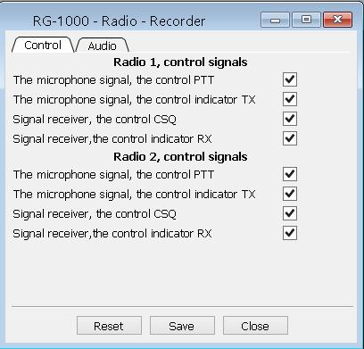 19 The Control tab provides a choice of digital signals for audio signal enabling/disabling.
