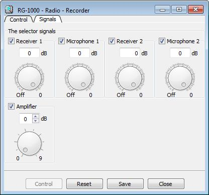 20 The Signals tab contains the selector of audio signals incoming to the recorder and variable output amplifier with control interval from 0 to 9 Db.