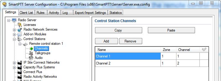 3 SmartPTT Radioserver settings 33 4. Add or edit the channels of the remote control station in the Control Station Channels window.