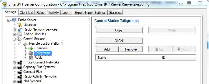 3 SmartPTT Radioserver settings 34 5. In the Control Station Talkgroups window, add or edit the talkgroups, which the dispatcher(s) may use for making a call via the remote control station.