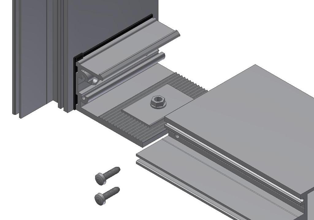 Step 14: Slide Horizontal Onto Shear Block Seal the perimeter of the shear block to the mullion. Seal the ends of the horizontal that will attach to the vertical.