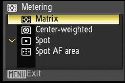 Metering The metering system in your camera measures the amount of light in the scene you are photographing and determines the aperture and shutter speed needed for a correct exposure.