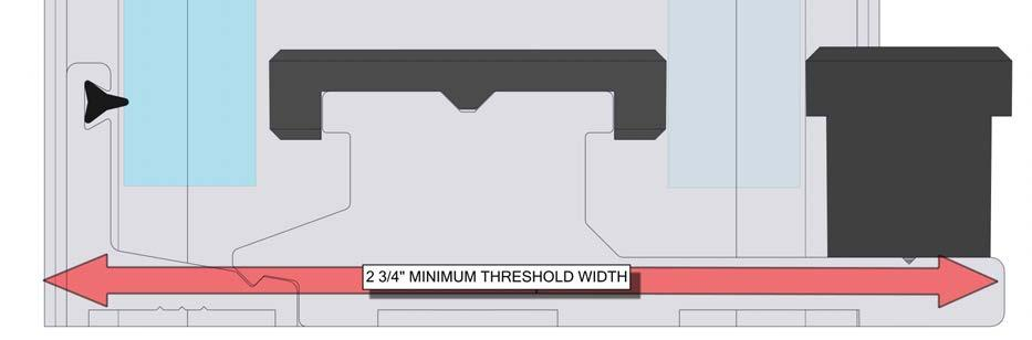 SHOWER HEAD MINIMUM THRESHOLD WITDH This unit requires a minimum 2 3/4 threshold width. The unit requires 2 3/4 of threshold width to ensure the unit does not hang off of the edge.