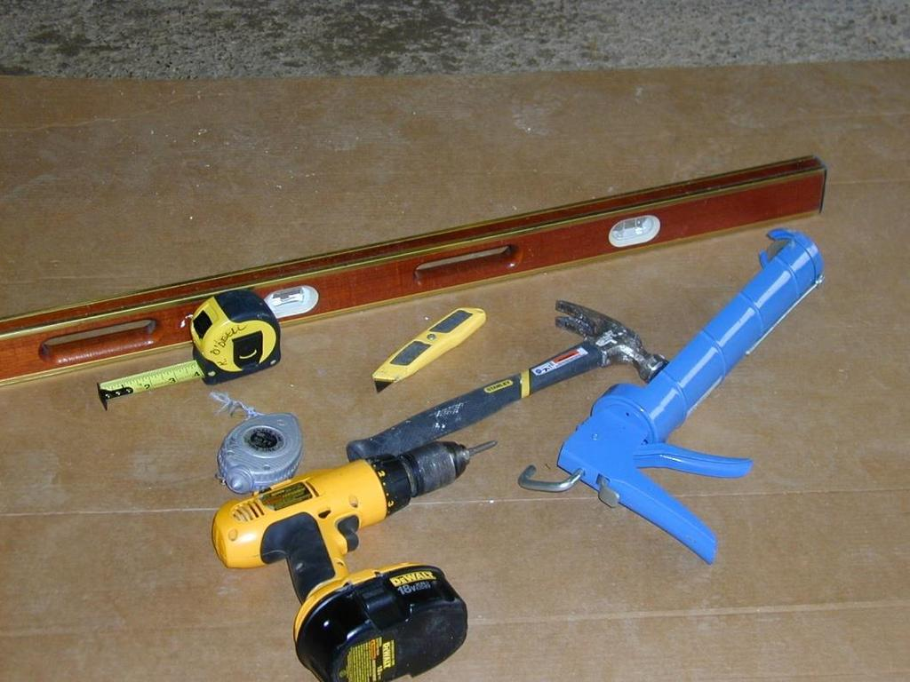 TOOLS NEEDED C B D A G E MATERIALS NEEDED A. Hammer E. Caulk Gun B.